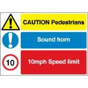 Multiple safety sign - Pedestrians 030